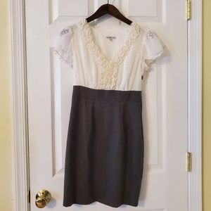 Charlotte Russe Creme and Grey Career Dress